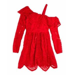 Bardot Junior Red Lace Festive Dress Girls 14 New